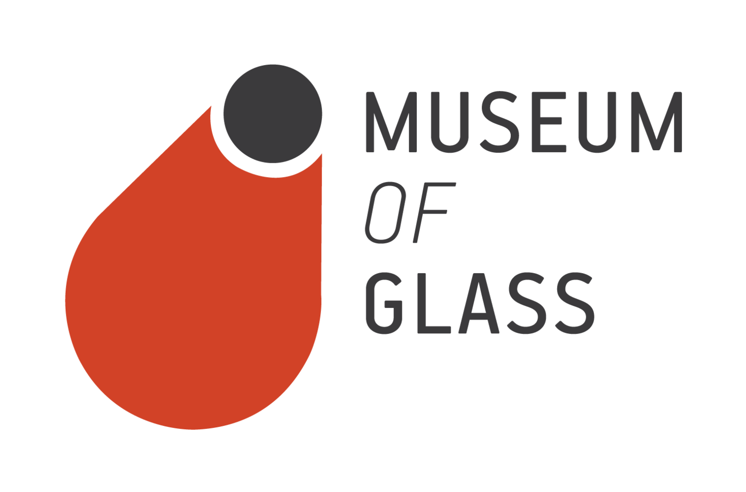 Museum of Glass logo which is a black circle and an orange petal shape.