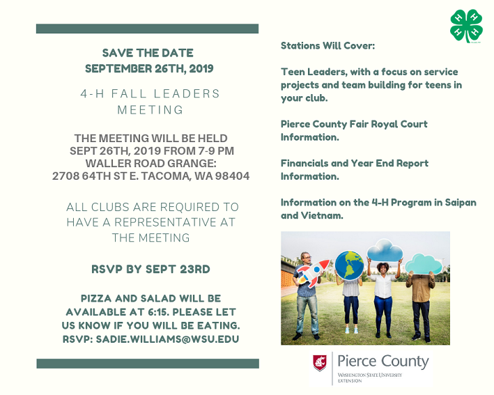 Pierce County 4-H Fall Leaders Meeting Flyer