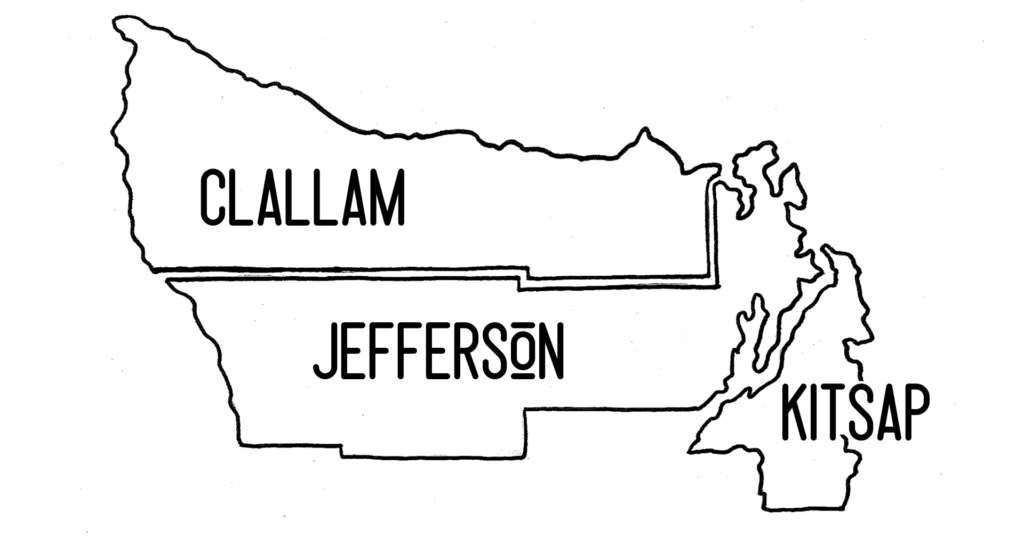 Clallam, Jefferson and Kitsap County outline