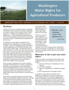 Photo of WSU publication Washington Water Rights for Agricultural Producers