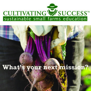 cultivating success logo and photo of farmer holding beets