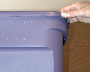 holes spaced out on bin edge