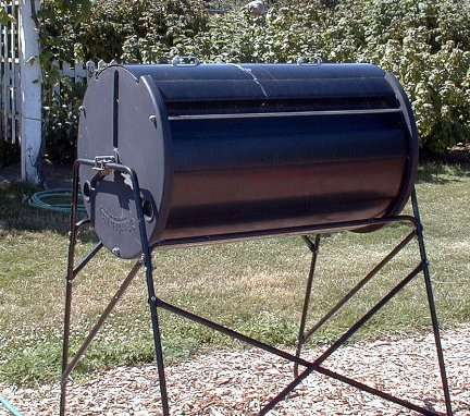 cylindrical compost bin on a stand