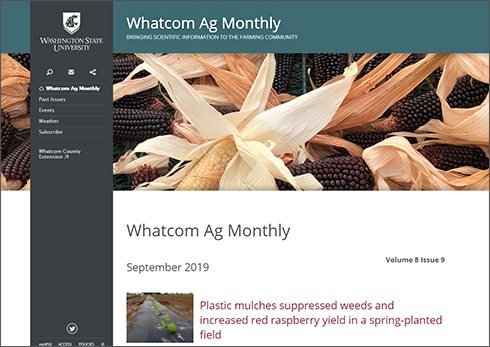 Image example of Whatcom Ag Monthly webpage