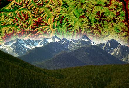 Composite of a mountain range and a map of mountains