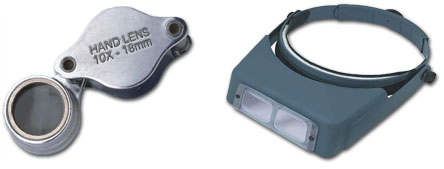 Magnifying Hand Lens (10X power) or an OptiVisor (3.5X power)