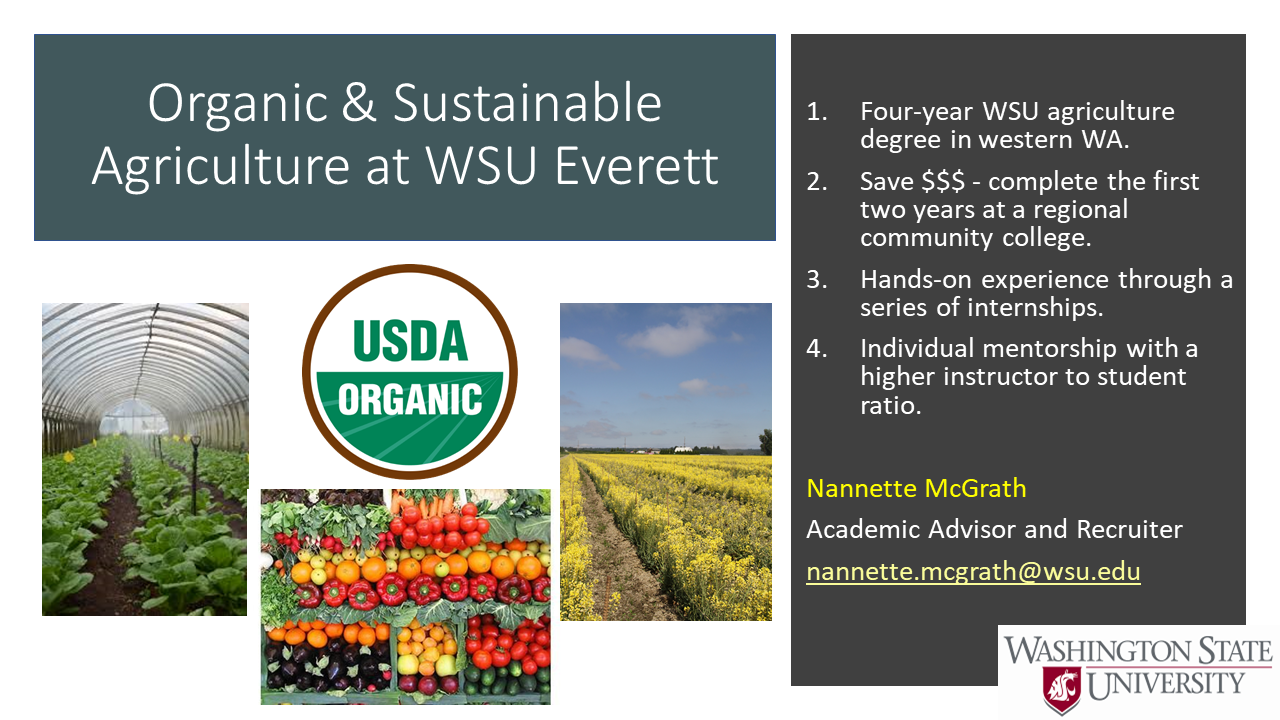 Organic and Sustainable Agriculture at WSU Everett Degree Announcement