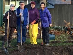 Master Gardeners building a rain garden. Clallam County.