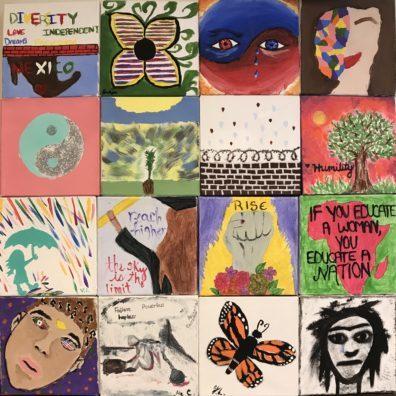 """Mosiac panels of art drawn by students."""