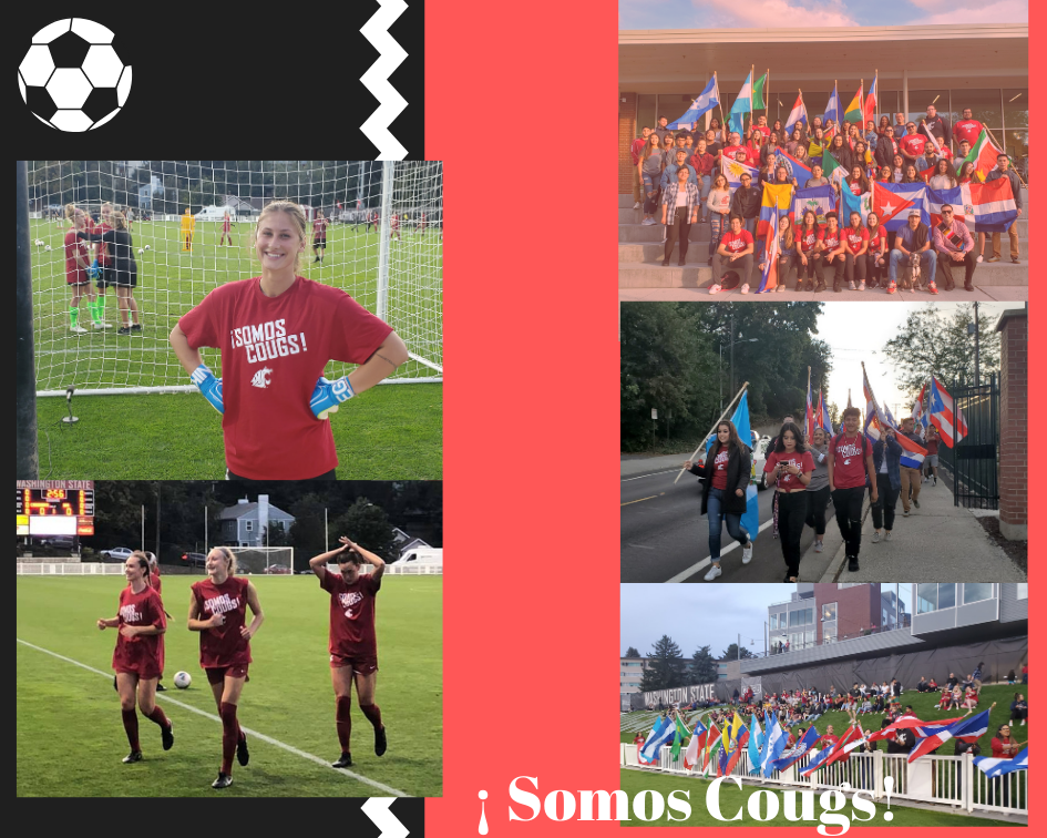photo collage of the processional and soccer game