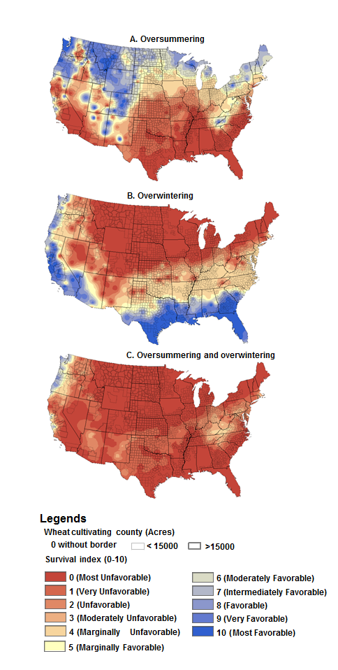 Map of the US showing regions where overwintering or oversummering is favorable.