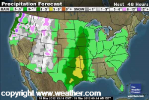 thunderstorm forecast on weather.com on March 19, 2012