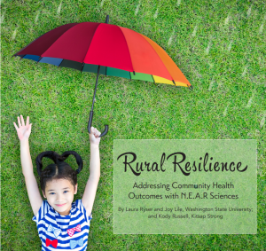 Rural Resiliance cover page with young girl laying on grass holding rainbow umbrella