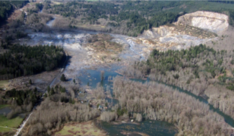 overhead view of oso landslide