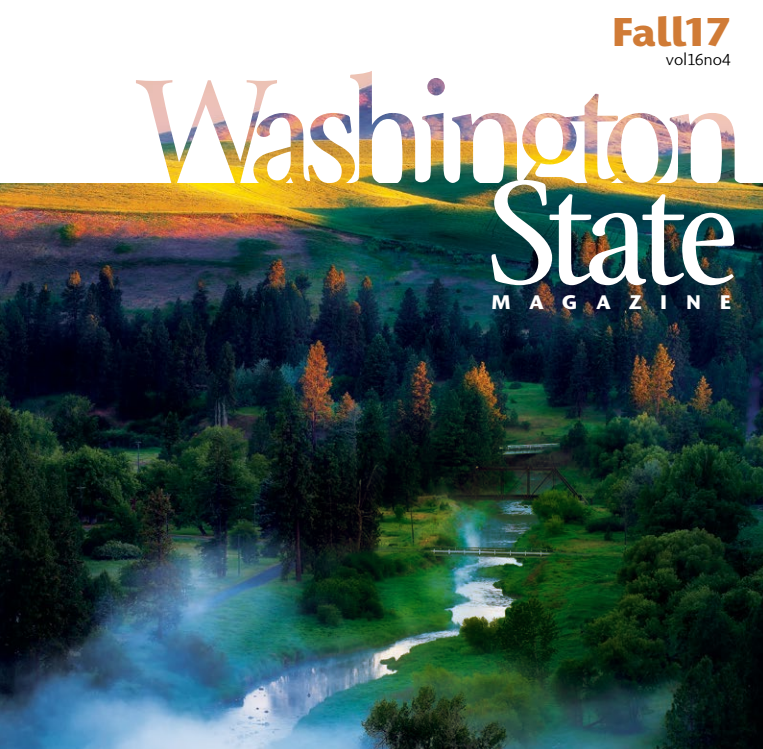 Washington State magazine fall 2017 cover with a river and trees