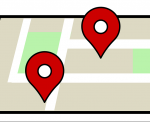 map with dropped pins