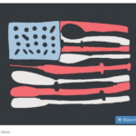 American flag with needles and spoons as stripes