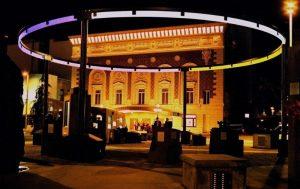 Yakima building at night