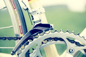 Bike gears near tire