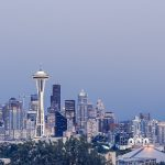 Seattle skyline with a foggy sky