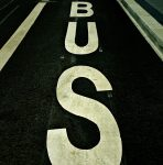 "Street sign reading ""bus"""