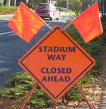 Stadium Way Closed Ahead