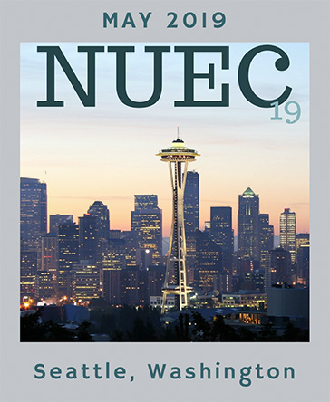 Poster that reads NUEC19 May 2019 Seattle, Washington