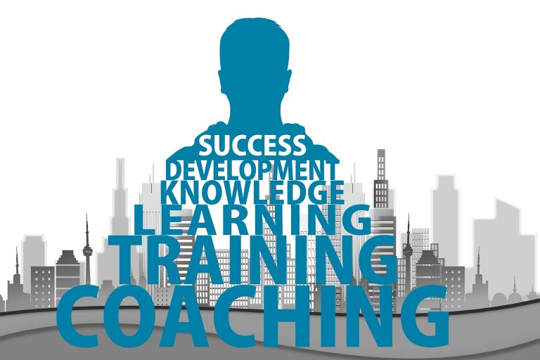 Outline of Person and City with Text: Success Development Knowledge Learning Training Coaching