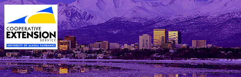 Alaska city skyline with mountains, overlaid with the Logo: Cooperative Extension Service University of Alaska Fairbanks