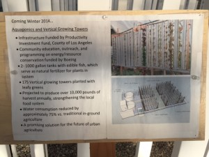 A view of a notice with picture of Aquaponics and Vertical Growing towers