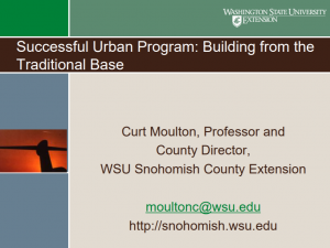 Successful Urban Program: Building from the traditional base