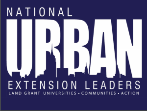 """National Urban Extension Leaders Logo blue with white letters and skyline in background of wor """"URBAN"""""""