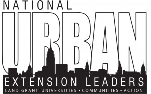 National Urban Extension Leaders Logo, with text: land grant universities - communities - action