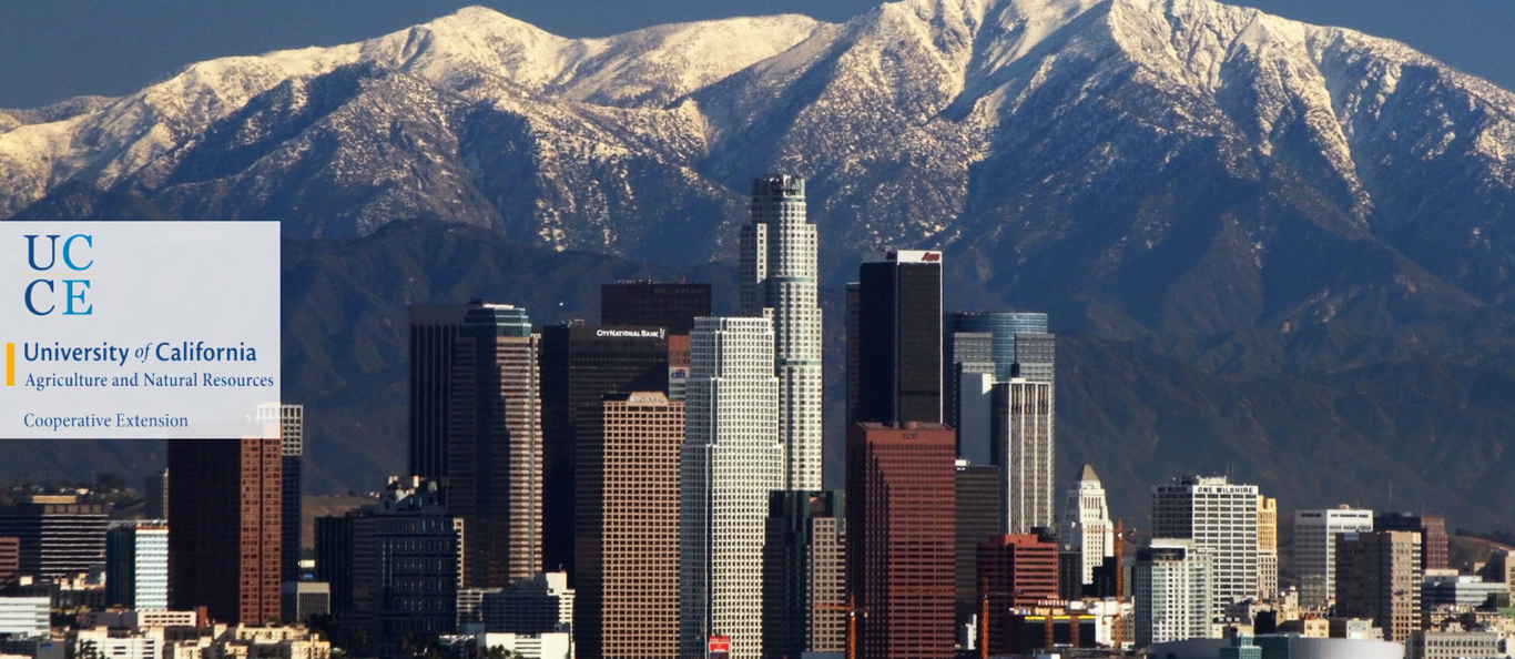 California skyline with mountains