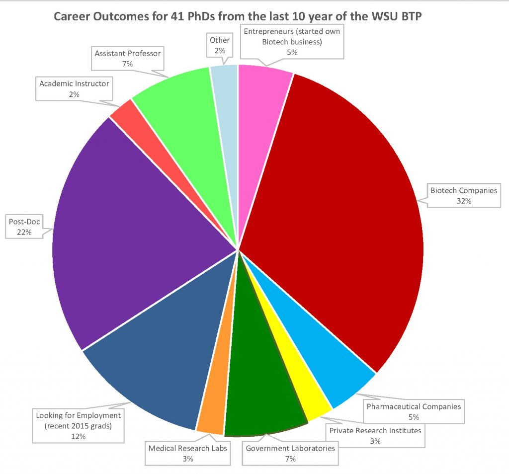 The pie chart shows the career outcomes for 41 PhD students from the last 10 years of the WSU BTP. It shows who earned their PhD went on to work in biotech companies (32%), begin post-doc research (22%), or are currently looking for work (12%).