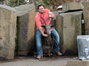 Picture of Adan Medina with an iron goat
