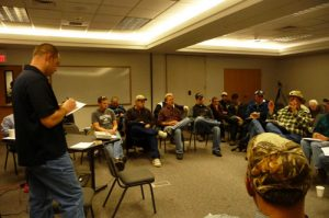 Breakout group at a deep furrow drill prototype meeting