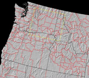 Pacific Northwest map showing the topographical relief lines