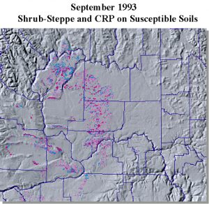 AVHRR image from September 1993. CRP and Shrub-Steppe within Susceptibile soils mask