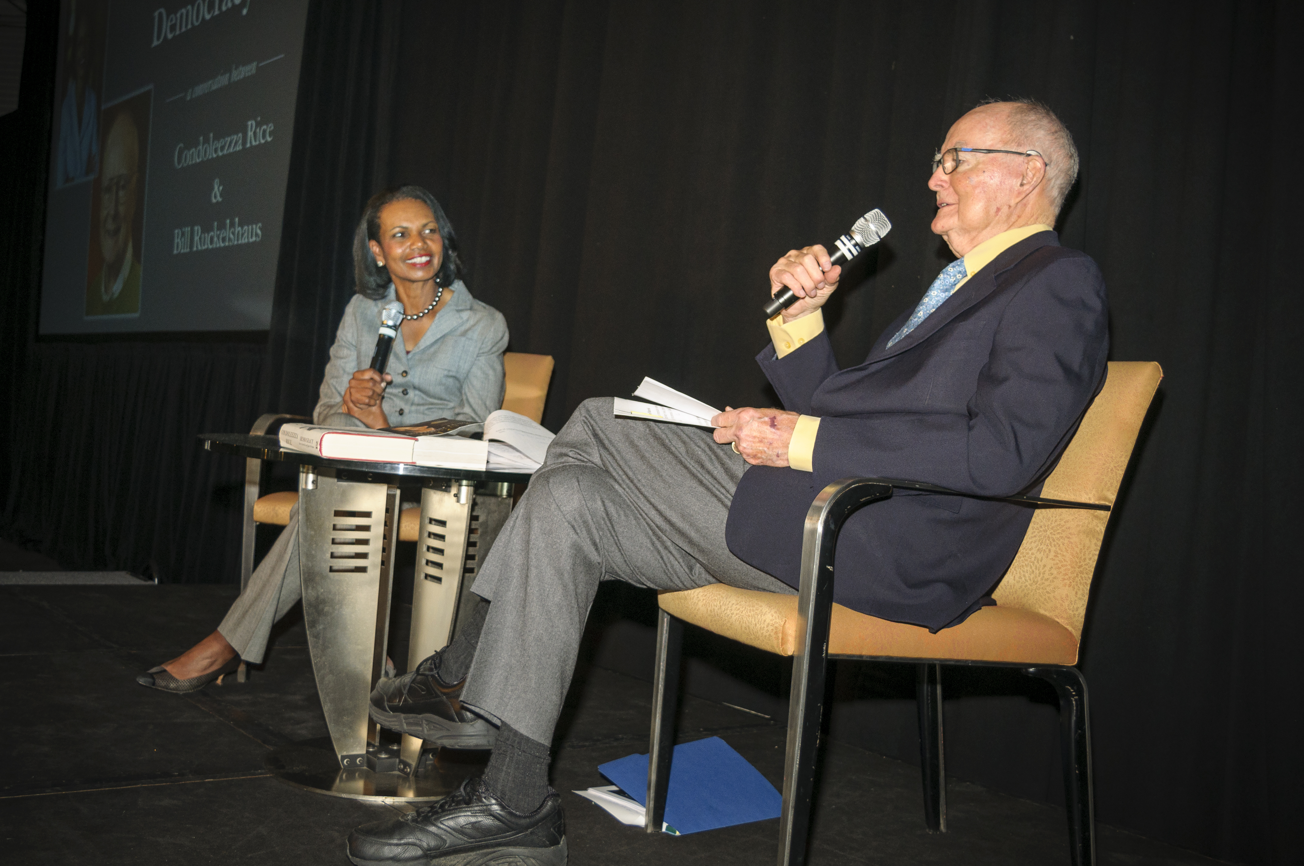 Bil Ruckelshaus and Condoleeza Rice