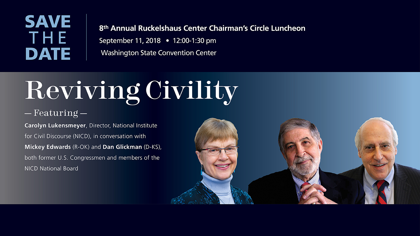 Speakers for the 2018 Chairman;s Circle Luncheon: Carol Lukensmeyer, Mickey Edwards, Dan Glickman
