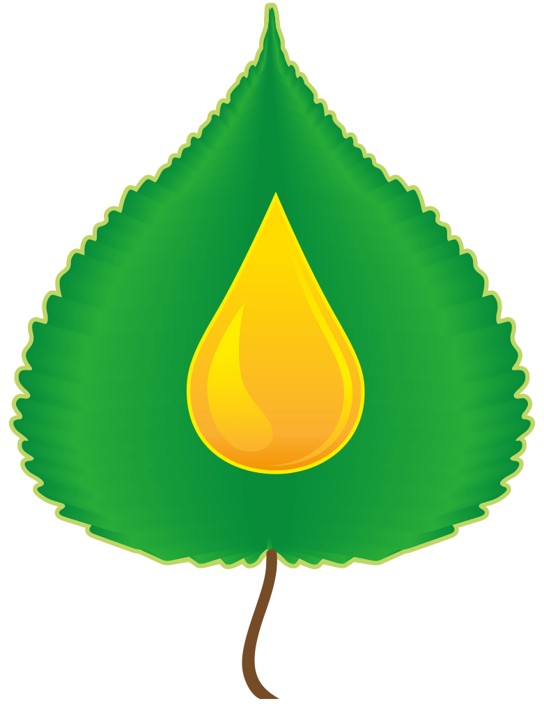 Conversion team logo; graphic of a yellow gas droplet on top of a green poplar leaf