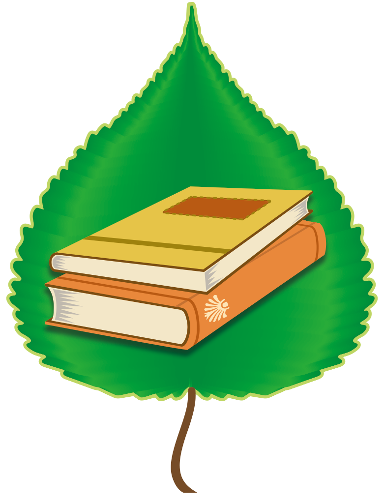 Education team logo; graphic of books on top of a green poplar leaf