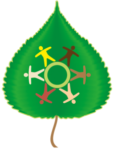 Extension team logo; diversely colored graphics of people joined in a circle on a green poplar leaf