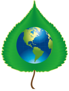 Sustainability team logo; graphic of a globe on top of a green poplar leaf