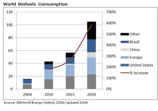Bar graph of World Biofuels Consumption