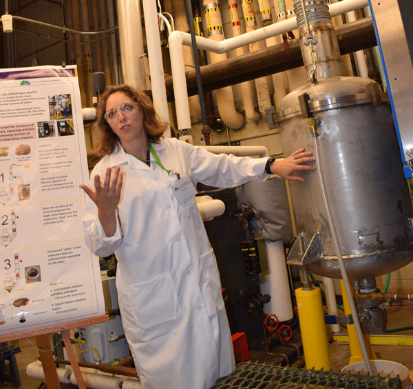 Shannon Ewanick standing next to the steam pre-treatment reactor