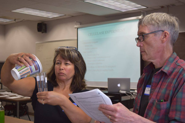 A teacher pours a liquid into a test tube.