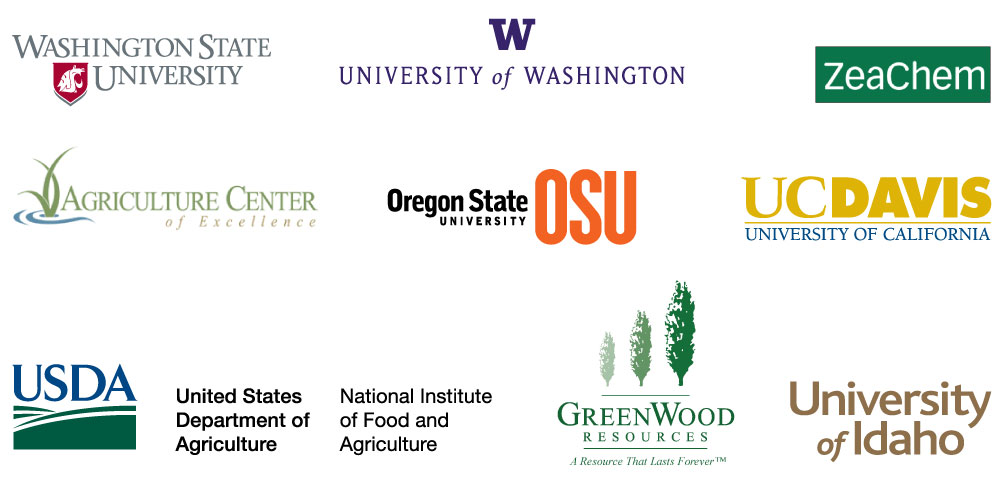 Washington State University, University of Washington, ZeaChem, Agriculture Center of Excellence, Oregon State University, University of California Davis, United States Department of Agriculture National Institute of Food and Agriculture, GreenWood Resources, and University of Idaho