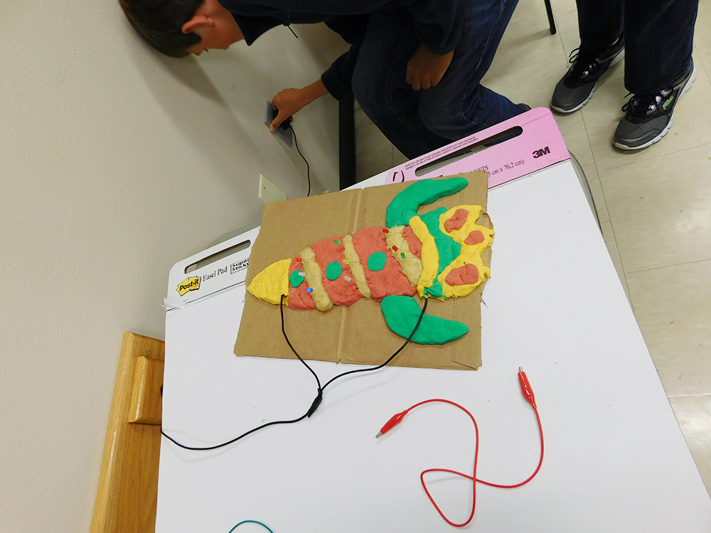 A colorful rocket sculpture, demonstrating how parallel and series circuit connections work.